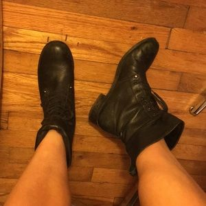 J. Crew leather Moto Boots Black Sz 8.5 lace up